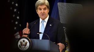 وزير الخارجية الأمريكي جون كيري في تصريحات حول السلام في الشرق الأوسط