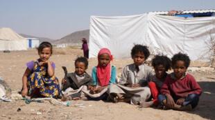 أطفال يمنيون في مخيم للنازحين