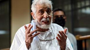 محمود عزت، القائم بأعمال مرشد الإخوان المسلمين في مصر، يتحدث خلال جلسة محاكمة في القاهرة يوم 3 فبراير 2021