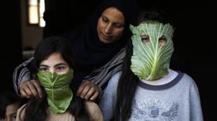 سيدة فلسطينية تصنع لأطفالها كمامات من أوراق من الملفوف في بيت لاهيا بشمال قطاع غزة