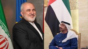 جواد ظريف وزير خارجية إيران وعبد الله بن زايد آل نهيان وزير خارجية الإمارات