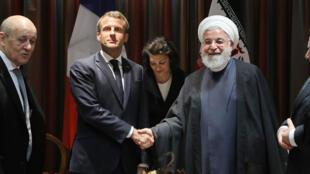 الرئيس الفرنسي إيمانويل ماكرون يلتقي بالرئيس الإيراني حسن روحاني في الأمم المتحدة يوم 9 سبتمبر 2019