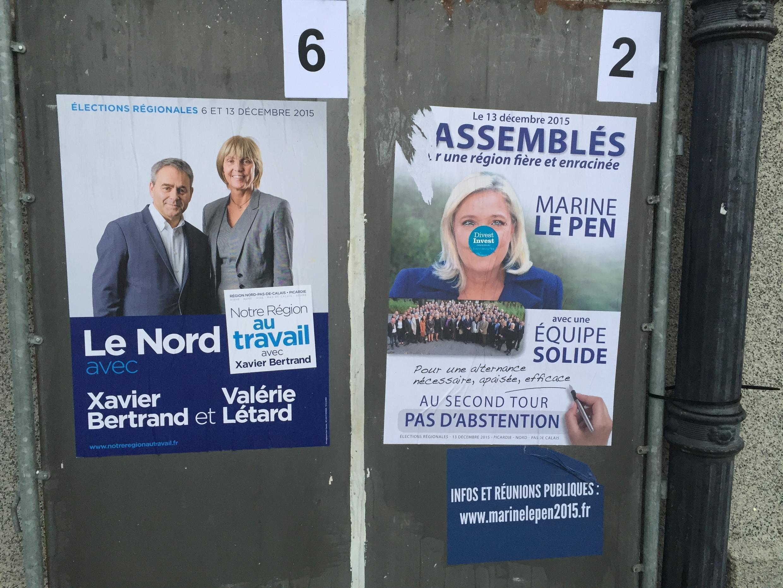 ملصقات انتخابية في محيط بلدية مدينة ليل شمال فرنسا