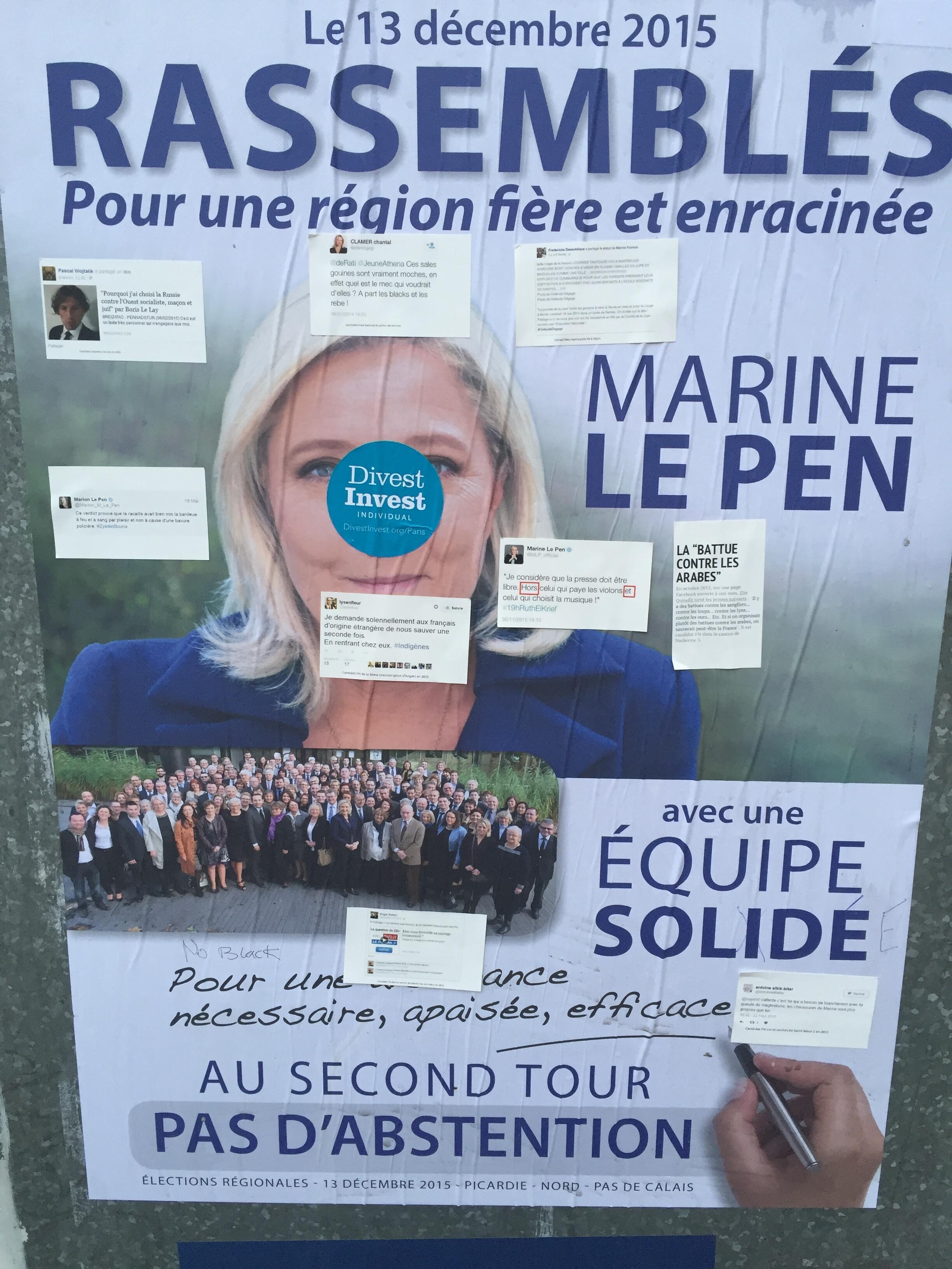 """ملصق انتخابي لمارين لوبين زعيمة """"الجبهة الوطنية"""" تم تشويهها من قبل مناهضين"""