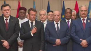 الأطراف الليبيون يلتقون بالرئيس الفرنسي ماكرون، باريس (29-05-2018)