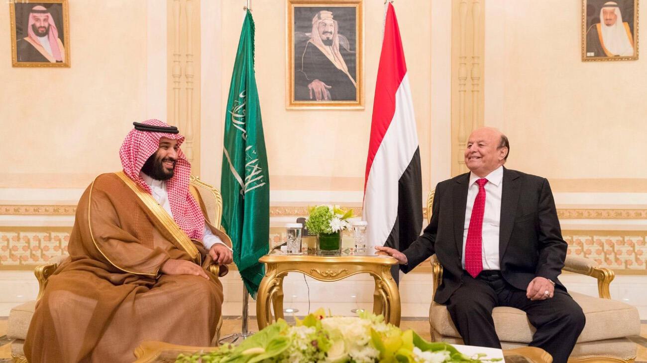 الرئيس اليمني عبد ربه منصور هادي يلتقي ولي العهد السعودي الأمير محمد بن سلمان