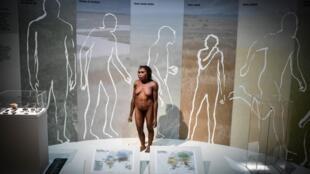 تشكيل حراري لامرأة فلوريس معروضة في معرض إنسان نياندرتال في متحف في باريس،  في 26 مارس 2018.