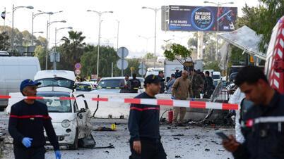 مكان الهجوم الانتحاري في تونس العاصمة يوم 6 مارس/ آذلر 2020