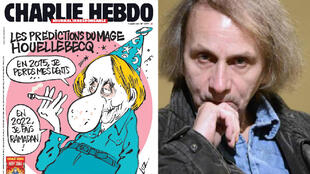 """وعلى اليسار صورة رسم على غلاف """"شارلي إيبدو"""" يوم الاعتداء الإرهابي الذي كرس غلافه وعدد من صفحاته للسخرية من ويلبك وروايته """"استسلام"""""""