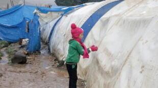 مخيم للنازحين في شمال حلب السورية