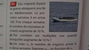 نص التمرين في الكتاب المدرسي مصحوب بصورة لمهاجرين