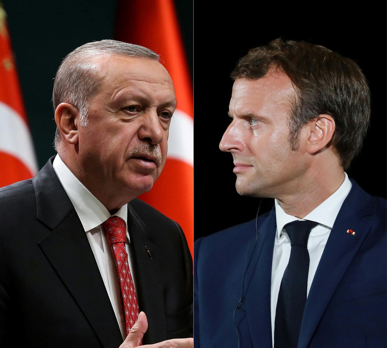 الرئيس التركي رجب طيب أردوغان (يسار) والفرنسي إيمانويل ماكرون (صورة مركبة)