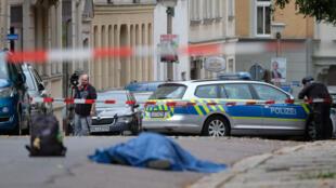 مكان الإعتداء في مدينة هاله الألمانية