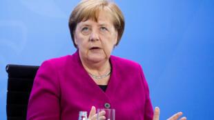 المستشارة الألمانية أنغيلا ميركل يوم الأربعاء 27 مايو أيار 2020