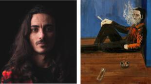 الفنان عمر نصيرات ولوحة من لوحاته