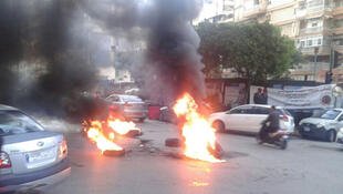حرق إطارات السيارات في بيروت 29 -01-2018