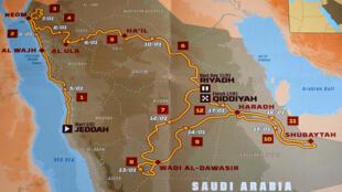 خريطة رالي داكار لعام 2020 في السعودية