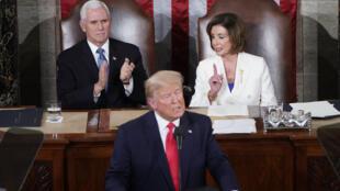 ترامب أثناء القاء خطابه في مجلس النواب يوم الثلاثاء 4 فبراير 2020