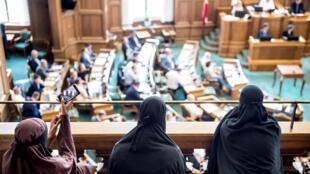 دنمركيات بالبرقع خلال مداولات أعضاء البرلمان