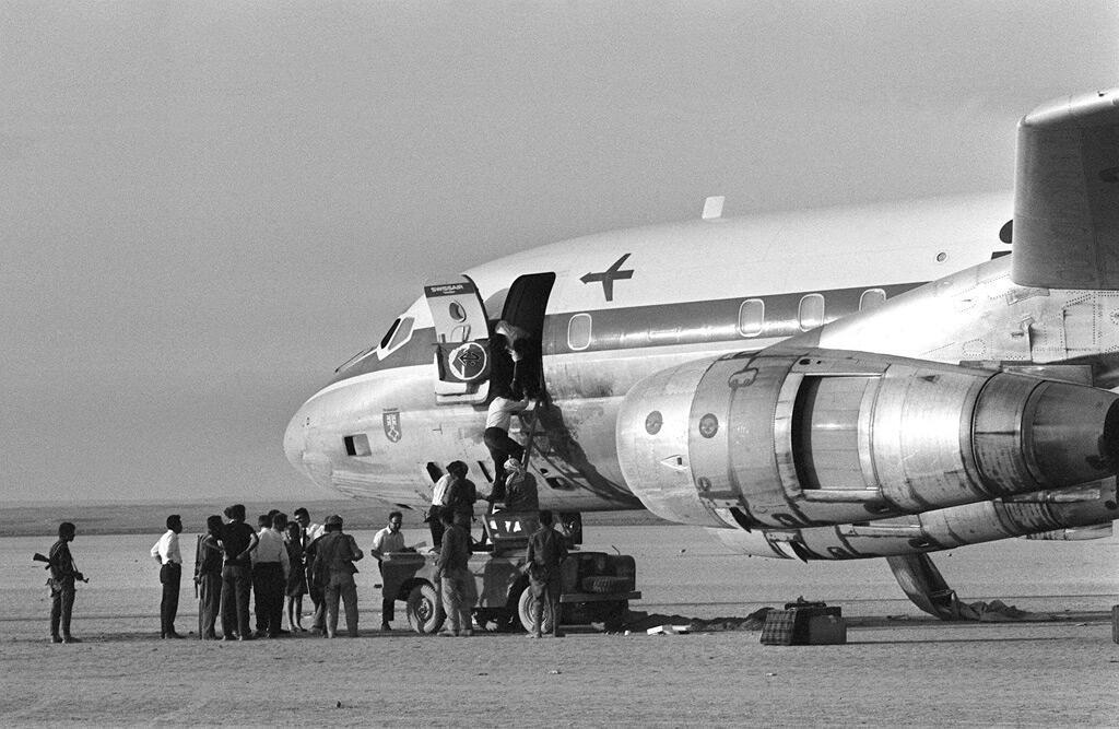 الطائرة السويسرية التي اختطفتها الجبهة الشعبية لتحرير فلسطين في أيلول 1970 وهبطت بها في الزرقا في الصحراء الأردنية