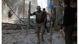 شوارع حلب بعيد القصف على المناطق الشرقية (15-08-2016)