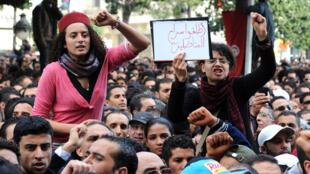 خلال احتجاجات في العاصمة التونسية في كانون الثاني 2011