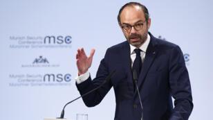 رئيس الوزراء الفرنسي إدوار فيليب في مؤتمر الأمن بميونيخ / رويترز 17 شباط - فبراير 2018