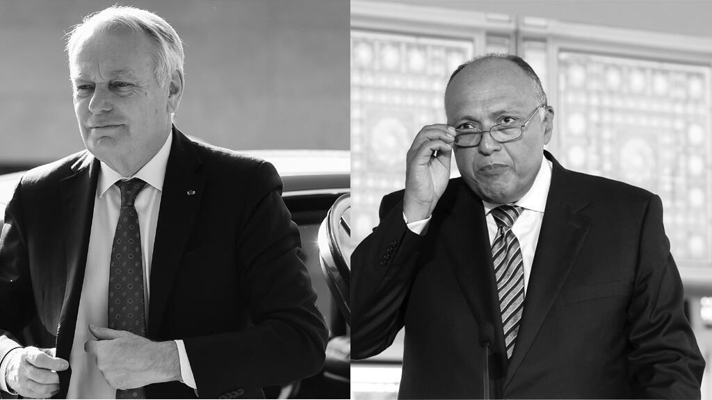 وزير خارجية فرنسا جان مارك إيرولت (يسار) ووزير خارجية مصر سامح شكري ( يمين)