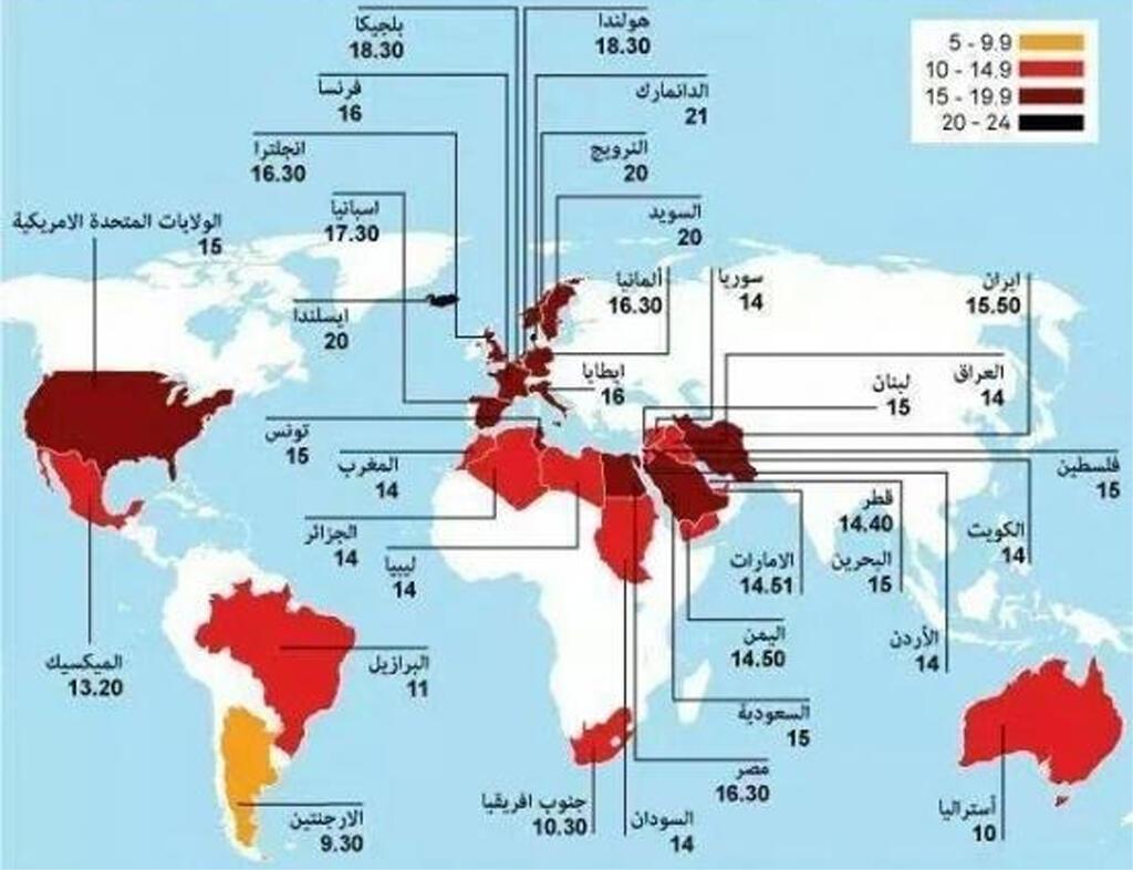 خريطة ساعات الصوم حول العالم