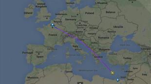 خريطة تظهر مسار الطائرة المصرية المفقودة 19-05-2016