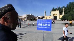 قرب مسجد إيدكا في منطقة شينجيانغ شمال غرب الصين