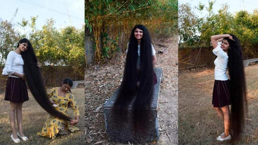 صاحبة أطول شعر في العالم الهندية نيلانشي باتيل