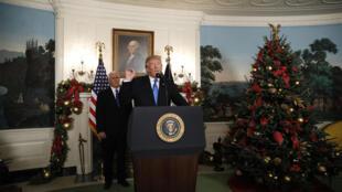 الرئيس الأمريكي دونالد ترامب خلال كلمته التي اعترف فيها بالقدس عاصمة لإسرائيل في البيت الأبيض 06-12-2017