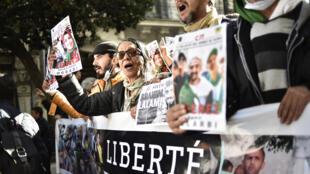 متظاهرون في الجزائر العاصمة يوم 24 يناير/ كانون الثاني 2020