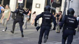الشرطة الإسبانية تتدخل خلال مظاهرة
