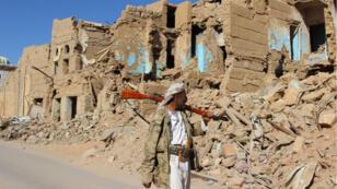 بيوت مهدمة جراء غارات التحالف بقيادة السعودية في صعدة (2017-01-11)
