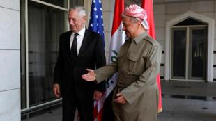 زير الدفاع الأمريكي جيم ماتيس مع رئيس إقليم كردستان العراق مسعود بارزاني