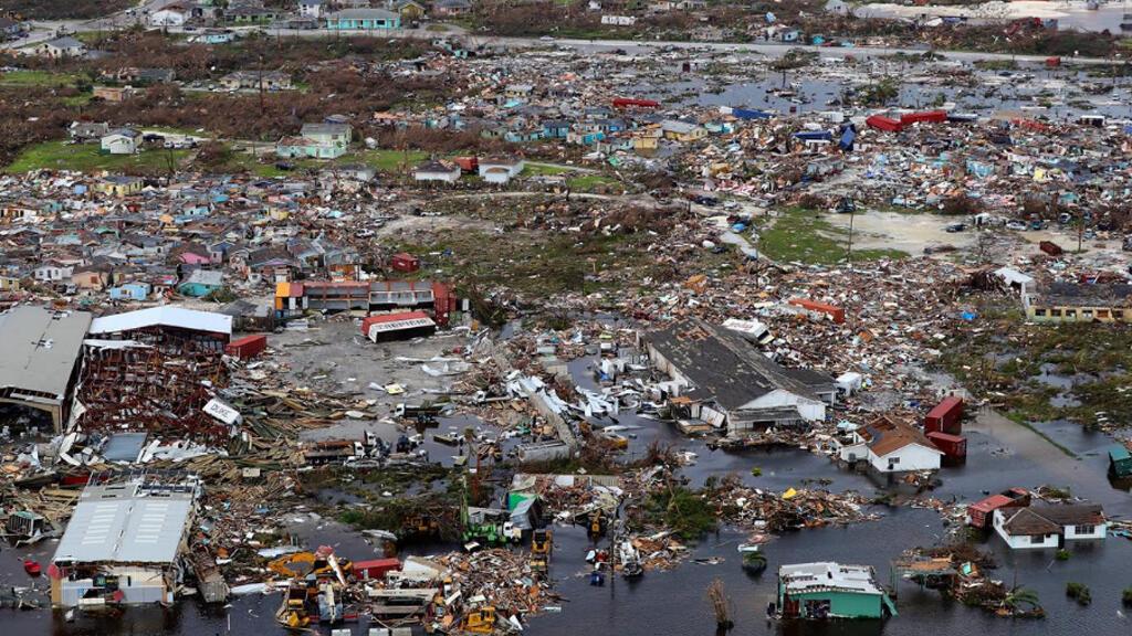 مشهد من الجو للدمار الذي لحق بجزيرة أباكو في الباهاما