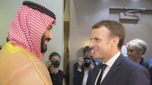 ولي العهد السعودي يستقبل الرئيس الفرنسي إيمانويل ماكرون في الرياض يوم 9 نوفمبر 2017