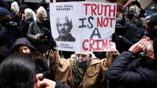 مظاهرة داعمة لجوليان أسانج في لندن