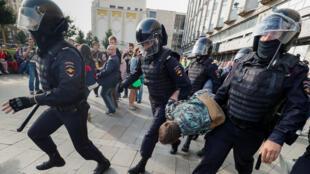 خلال تظاهرات في روسيا-