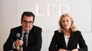 رئيسة الرابطة الفرنسية لكرة القدم ناتالي بوي دو لا تور والمدير العام ديدييه كويلو