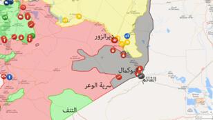 خريطة سوريا تظهر منطقة بوكمال