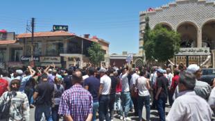 من احتجاجات مدينة السويداء السورية