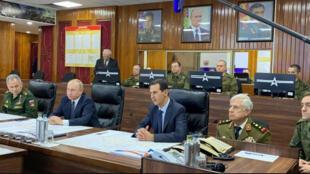 الرئيس الروسي فلاديمير بوتين مع الرئيس السوري بشار الأسد في دمشق يوم 7 يناير 2020