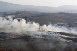 """تبادل اطلاق نار بالقرب من الحدود الاسرائيلية -اللبنانية . تصوير"""" رويترز"""""""