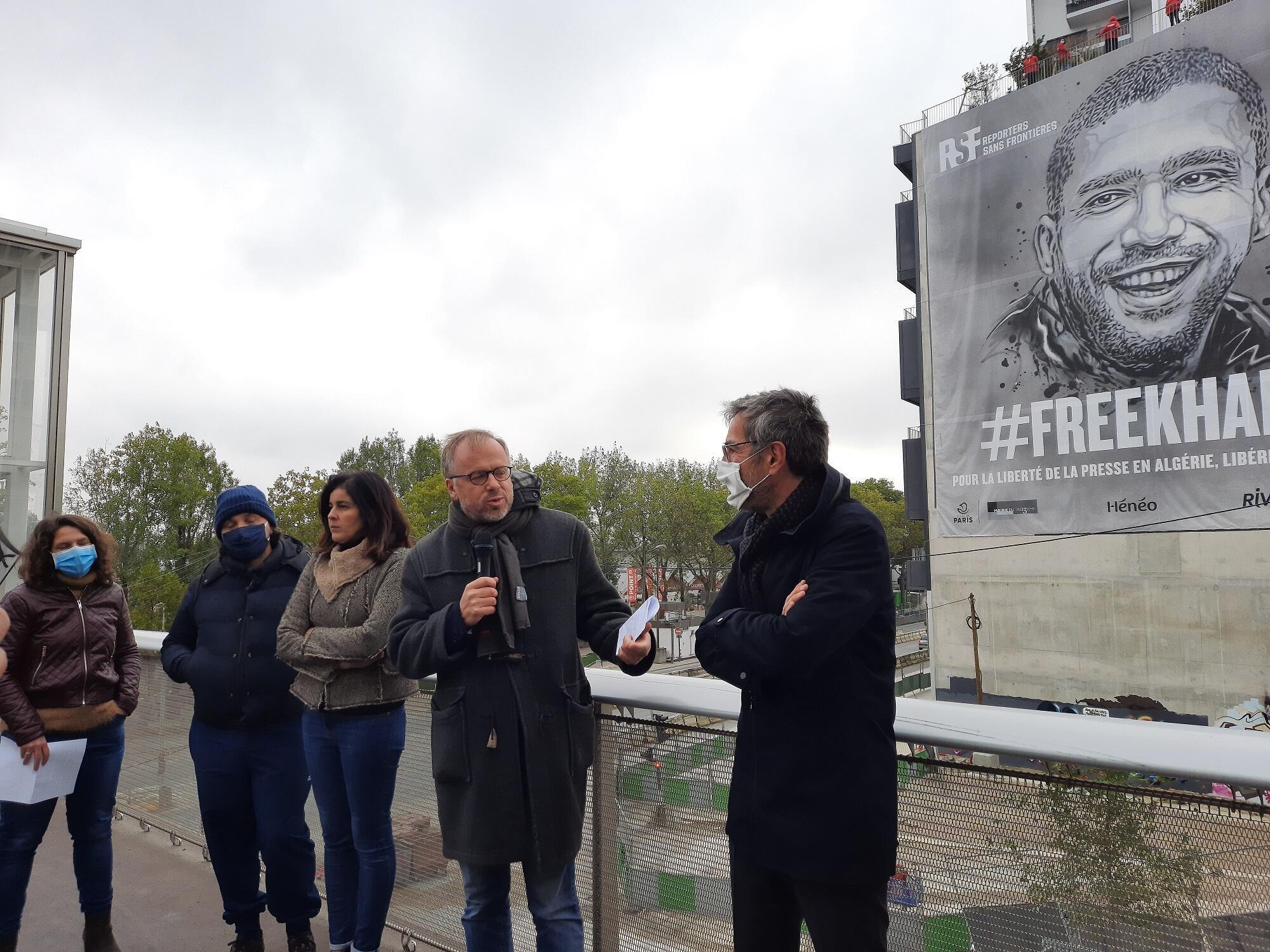 تظاهرة باريسية تضامنا مع الصحافي الجزائري خالد درارني (15 أكتوبر 2020)