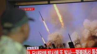 لقطات لأسلحة قذيفة كوريا الشمالية ، في محطة سكة حديد في سيول في 9 مايو 2019 قال جيش كوريا الجنوبية ، فيما تسعى بيونج يانج إلى تعزيز الرهان في المفاوضات النووية المتعثرة مع واشنطن