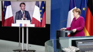المستشارة الألمانية أنغيلا ميركل خلال مؤتمر صحفي مشترك مع الرئيس الفرنسي إيمانويل ماكرون عبر رابط الفيديو في 18 مايو 2020