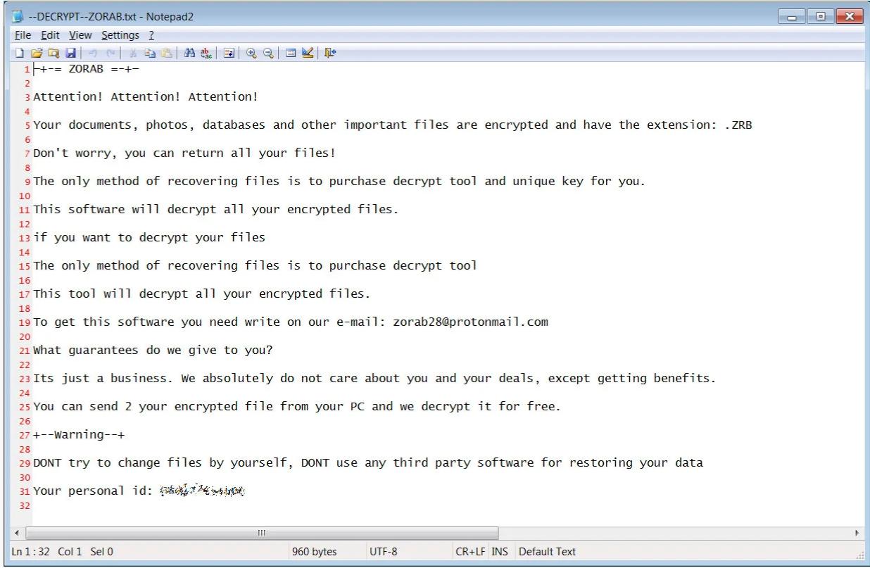 عقابا مزدوجا للمستخدم إذ سيتعين عليه الدفع أولاً لفك البيانات التي لا يمكن الوصول إليها بواسطة برنامج الفدية zorab، ثم مرة ثانية لفك تشفير برنامج الفدية STOP Djvu.